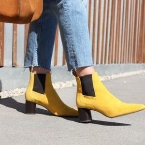 Zara yellow suede ankle boots